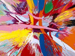Damien Hirst: Nádherná láska, toužící oči navrch hlavy a vibrující malba